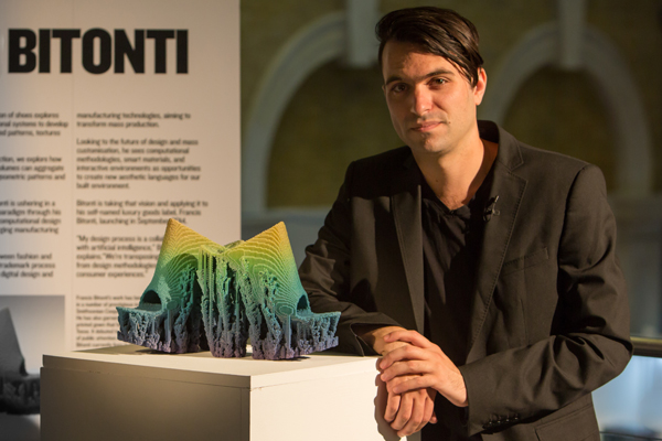 Francis Bitonti with shoes designed for Adobe.