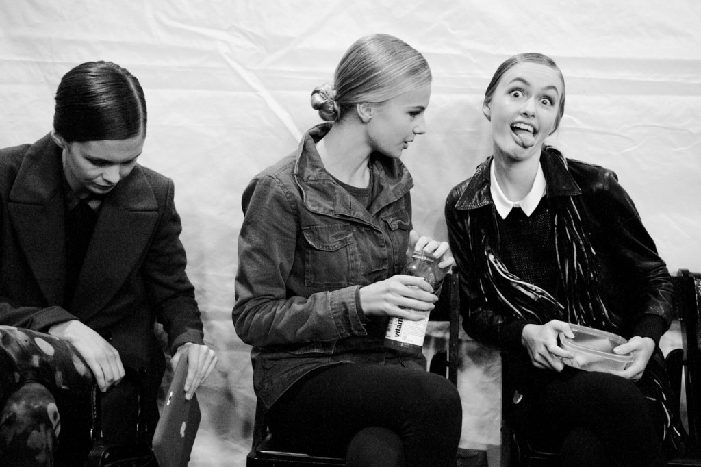 Models are people too, people who like to make funny faces! - Mauricio Calero.  Models backstage, October 2013.